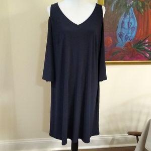 NWT MSK Navy blue cold shoulder dress, size 1X